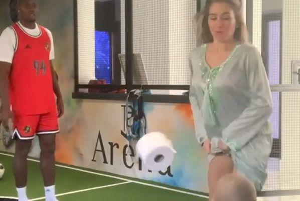 Paul Pogba's girlfriend Maria Salaues kicks a toilet roll into their son's face