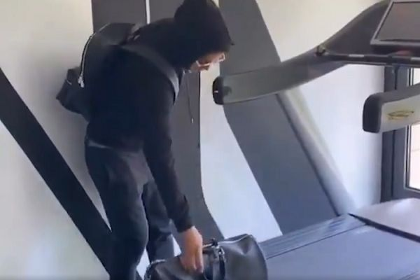 Real Madrid's James Rodríguez pretends to be at an airport using his treadmill while isolating