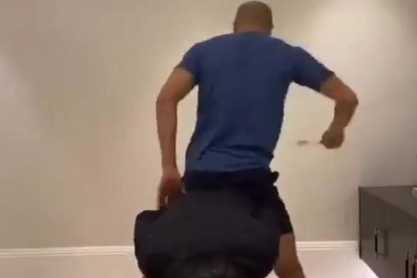 Tottenham Hotspur's Lucas Moura pretends to be a horse with wife
