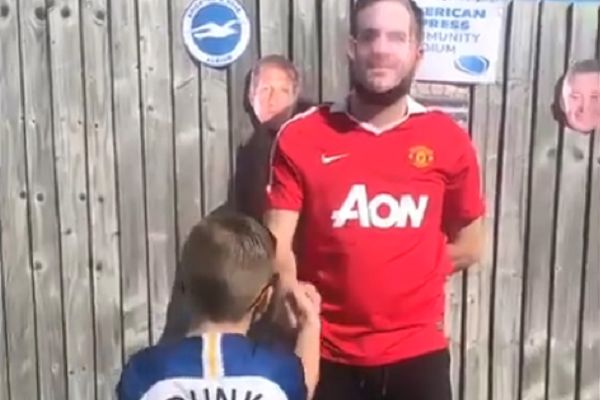 Young Brighton fan enjoys matchday mascot experience in his garden