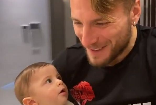 Lazio striker Ciro Immobile pretends to feed baby then eats food himself