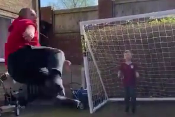 Man's shot hits son in goal in the garden in the face