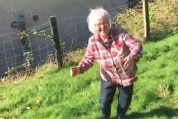 Talybont mum does Peter Crouch's robot celebration after kicking ball through window