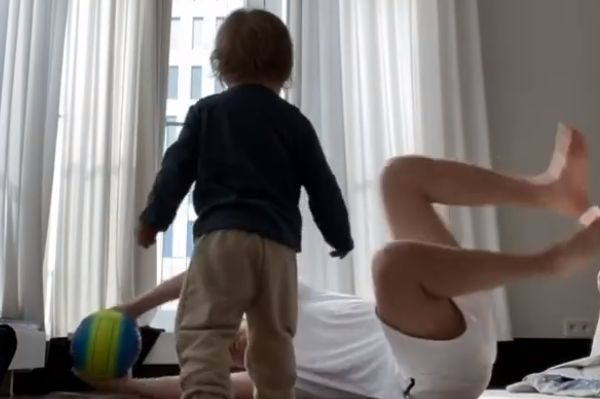 Juventus goalkeeper Wojciech Szczęsny saves shots from his son Liam at home