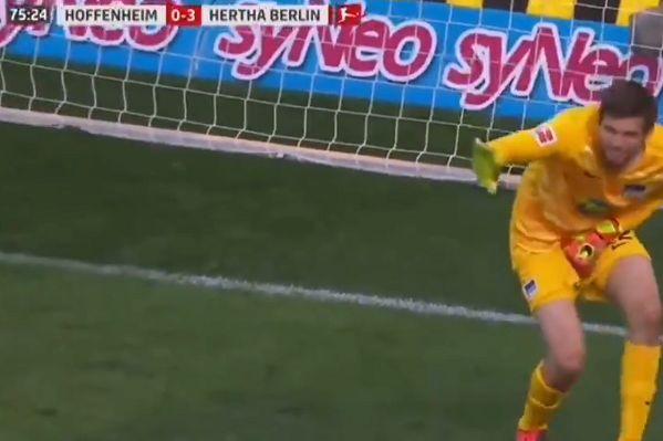 Hertha Berlin goalkeeper Rune Jarstein heard cursing after shot hits him in the groin as Bundesliga returns without fans