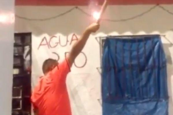 Sport Recife supporter drops firework celebrating anniversary of Copa Pernambuco victory