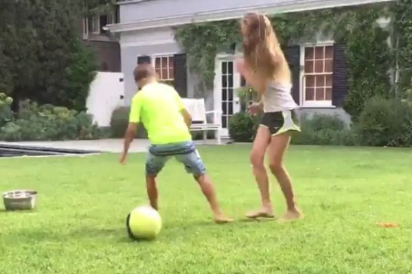 Tudela LA player nutmegs her brother before pushing him into swimming pool