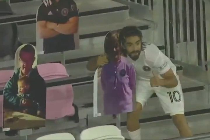Inter Miami's Rodolfo Pizarro celebrates goal with fan cutout in 3-2 win over Orlando City