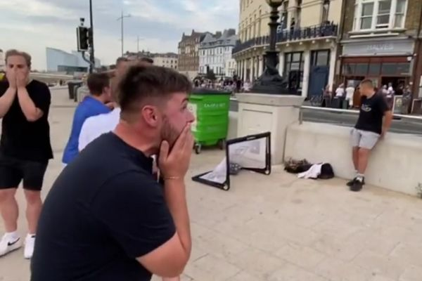 Group of friends react to one of them being nutmegged by young freestyler in Margate