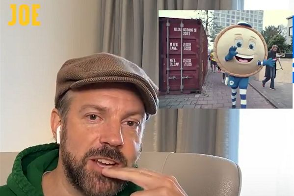 Actor Jason Sudeikis tries to guess the names of British football mascots