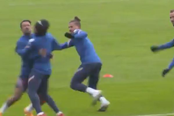 Danny Ings and Kieran Trippier run into each other during England training session