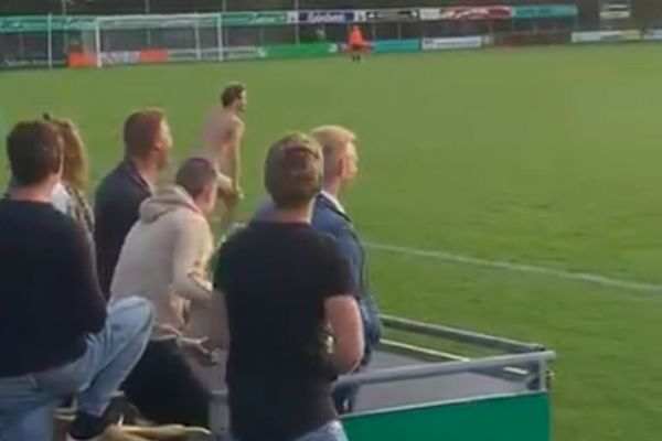 Male streaker at amateur women's match between VV Waskemeer and Wykels Hallum in the Netherlands