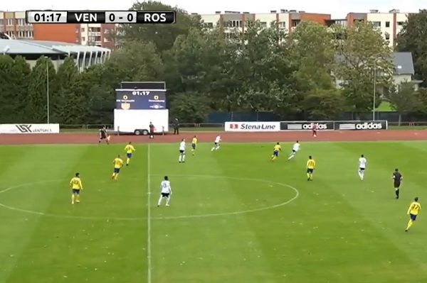 Ball blown haphazardly by strong wind during Venstpils vs Rosenborg in the Europa League