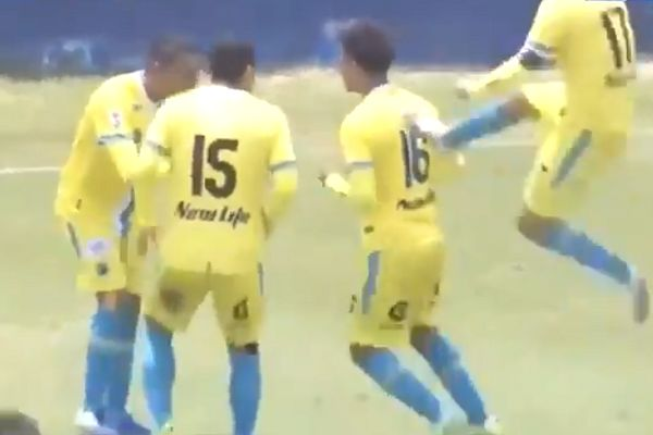 Carlos Stein player kicks teammate in the back during goal celebration