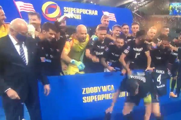 Cracovia's Milan Dimun drops shield after winning Polish SuperCup against Legia Warsaw