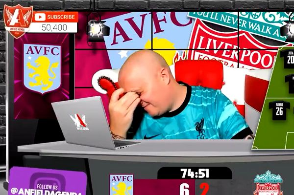 Anfield Agenda presenter loses his cool as Liverpool concede 7th goal at Aston Villa