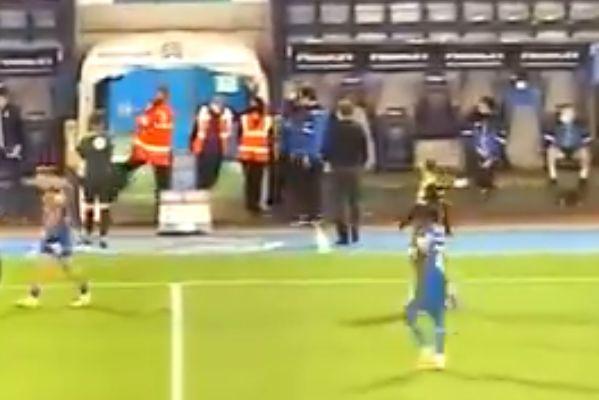 Steward kicks ball into his own face during Shrewsbury vs Bristol Rovers