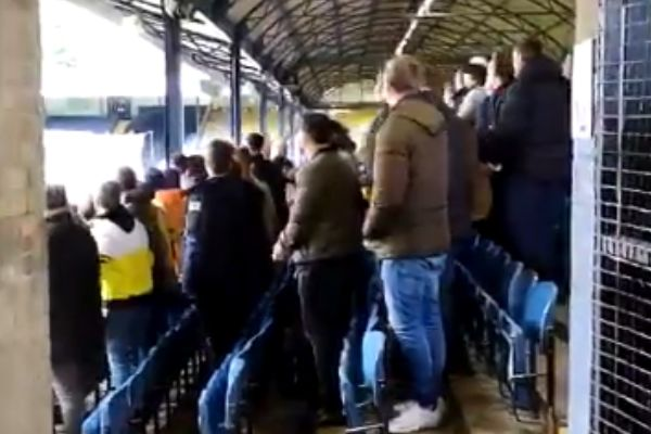 Fake fans celebrate goal at Southend United while filming for upcoming Rise of the Footsoldier film