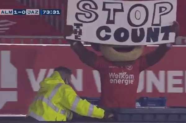"Almere City mascot Ally de Aap holds up ""stop the count"" sign to mock Donald Trump"