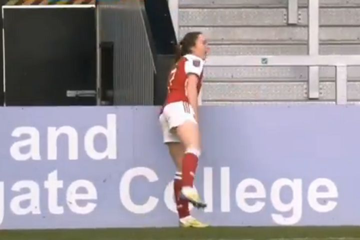 Arsenal Women's Lisa Evans loses ball behind advertising hoardings after flicking it up before throw-in