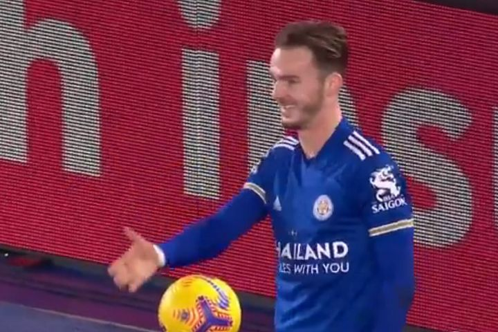 James Maddison celebrates goal for Leicester against Southampton with socially distanced handshakes