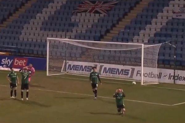 Rochdale's Oliver Rathbone mistakenly celebrates conceded goal at Gillingham