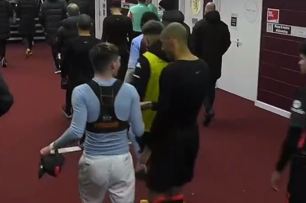 Louie Barry asks Fabinho for his shirt back after Aston Villa 1-4 Liverpool in the FA Cup
