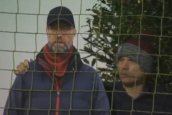 Man places cardboard cutout of Liverpool manager Jürgen Klopp in garden overlooking Marine vs Spurs in the FA Cup 3rd round
