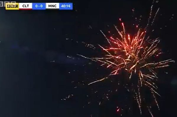 Fireworks display that halted play during Cheltenham Town vs Manchester City in the FA Cup 4th round