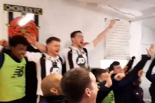 "Chorley players sing ""Someone Like You"" by Adele to celebrate beating Derby County in the FA Cup 3rd round"