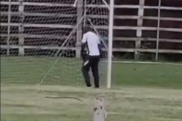 Forest Rangers FC goalkeeping coach Charles Chileshe urinates on goalpost at Prison Leopards ground