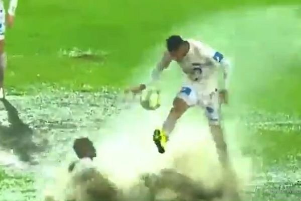 Waterlogged pitch during Raja Casablanca vs Teungueth in the CAF Champions League