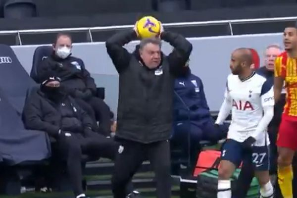 West Bromwich Albion manager Sam Allardyce makes as if he's about to take a throw-in during 2-0 defeat at Tottenham Hotspur