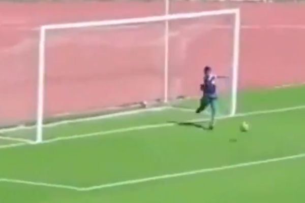 Ball boy makes goal line clearance during Algerian reserves game between HB Chelghoum Laïd and MSP Batna