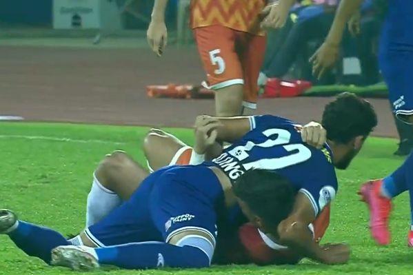 Goa midfielder Edu Bedia appears to bite Deepak Tangri of Chennaiyin during Indian Super League match