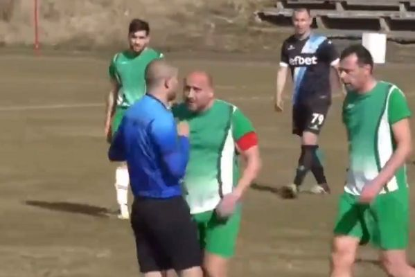 Referee chased from pitch during abandoned game between OFK Kostinbrod and Tornado Bezden in Bulgarian fourth tier