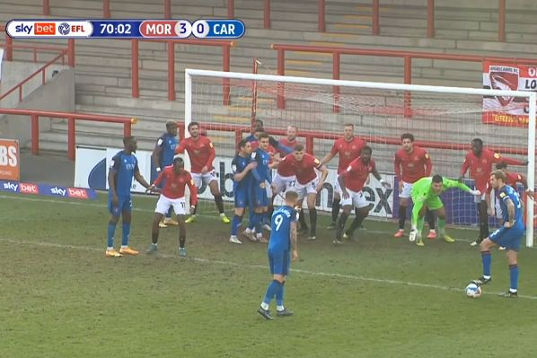 Morecambe defend against Carlisle United's 6-yard indirect free kick with their whole team behind the ball
