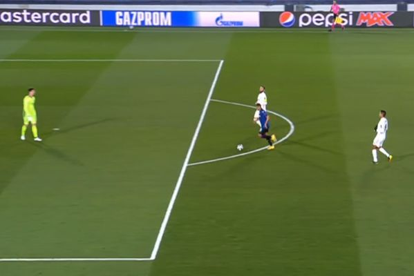 Muriel gets in on goal just as the referee blows the half time whistle during Real Madrid vs Atalanta in the Champions League