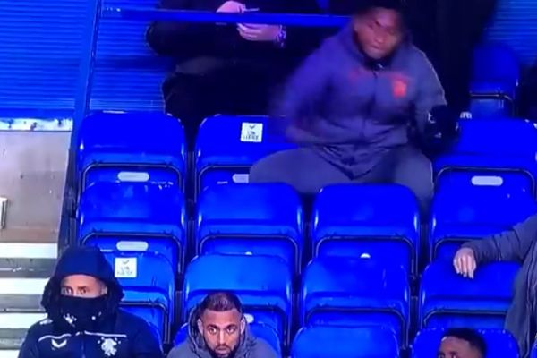 Alfredo Morelos throws balled-up tape at James Tavernier's head in the stands at Ibrox during Rangers 4-0 Cove Rangers in the Scottish Cup