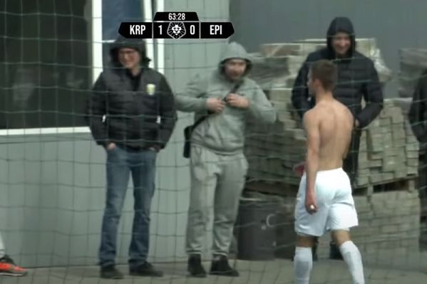 Andrii Bey asks fans for his shirt back during Karpaty Halych 1-0 Epitsentr