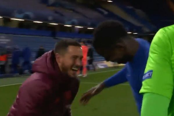 Eden Hazard laughing and joking with Kurt Zouma and Édouard Mendy at full time of Chelsea 2-0 Real Madrid