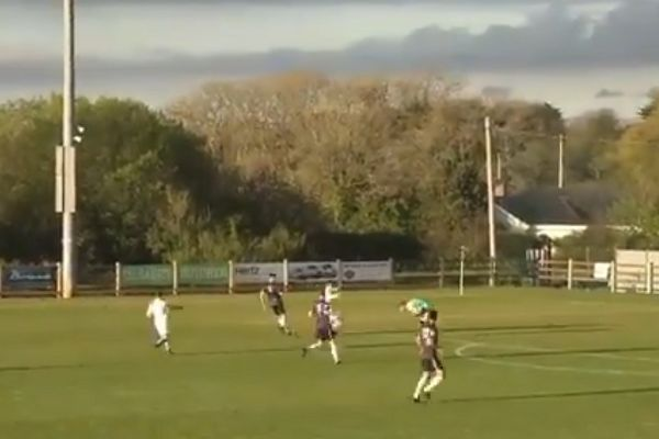 The first of two red cards for Wexford goalkeepers in the 0-6 loss to UCD