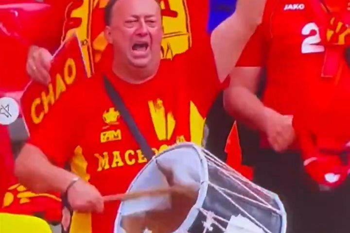 North Macedonia fan strikes drum with a hole in it during 2-1 defeat to Ukraine at Euro 2020