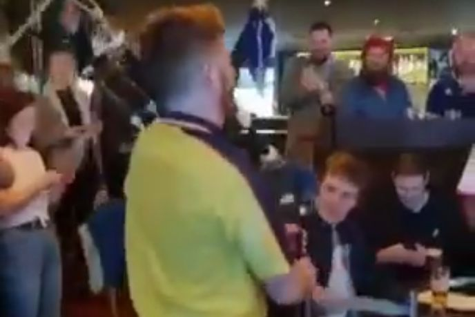 Bagpiper falls off chair while playing Scottish national anthem in pub ahead of Euro 2020 game against England