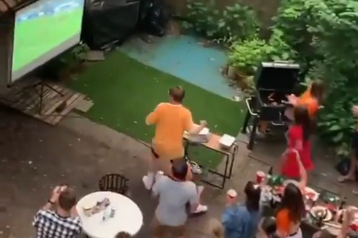 Group trick Dutch neighbours watching game against Austria with a delay into thinking they've scored