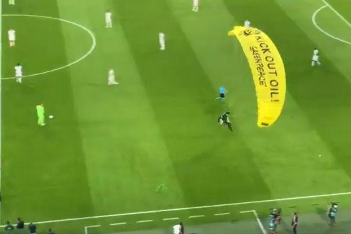 Greenpeace activist parachutes into stadium before France vs Germany at Euro 2020