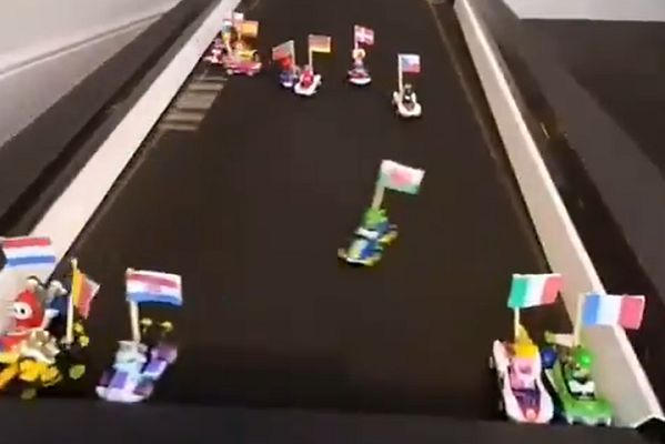 Mario Kart figurines with national flags race on treadmill to predict winner of European Championships