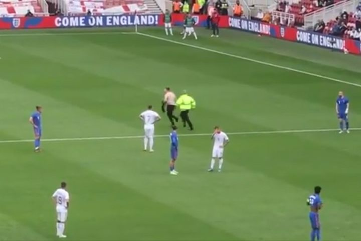 Pitch invader at England 1-0 Romania