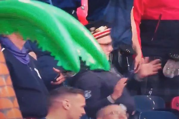 Drunk Scotland fan stumbles backwards during 0-0 draw with England at Euro 2020