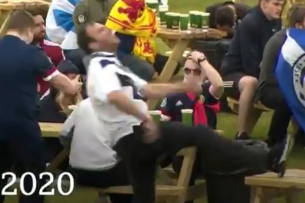Scotland fan tries to kick table and misses after Croatia score against them in Euro 2020 match